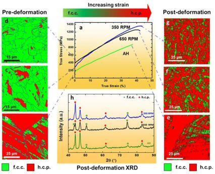 Scientific Reports: True stress-true strain curves for the as-homogenized and FSP samples deformed at room temperature at an initial strain rate of 10−3 s−1, (b–d) EBSD maps showing f.c.c. γ- and h.c.p. ε-phase fractions prior to tensile deformation and,