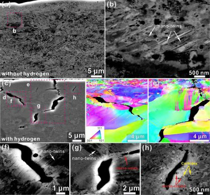 Combined ECCI and EBSD analysis showing the microstructures close to the surface of the tensile tested interstitial HEA samples both, with and without hydrogen charging. (a), (b) ECC images of tensile tested samples without hydrogen charging. (c) Low magn