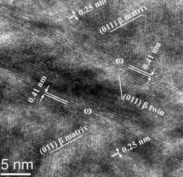 Titanium alloys of low modulus biomedical grade often show local beta to omega transformation, TEM analysis.